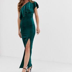 [ASOS] Velvet Emerald Ruffle One Shoulder Gown